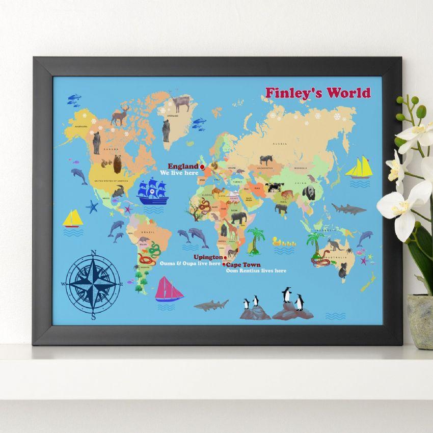 personalised child s world map print